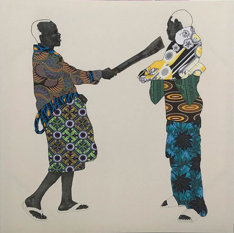 Pierre Mukeba, Discrimination, 2017, brush pen and fabric applique on cotton, 180 x 200cm. Courtesy of GAGPROJECTS | Greenaway Art Gallery, Adelaide.