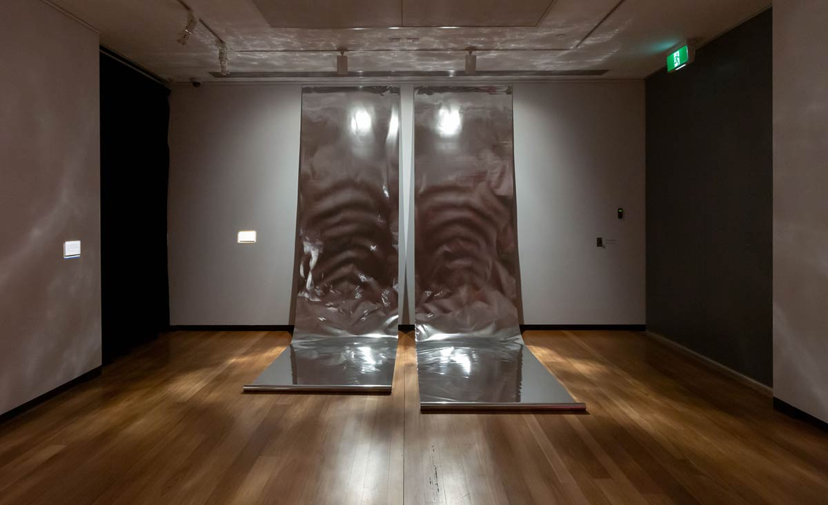 Julian Day, Cold Front, 2018, reflective mylar, speakers, dimensions variable. Installation view, Town Hall Gallery, 2019. Photo by Christian Capurro. Courtesy of Town Hall Gallery.